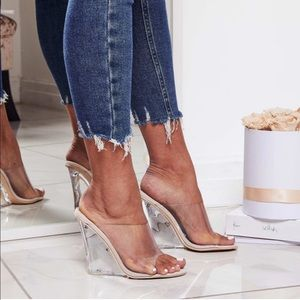 Clear Nude Wedge Heel Sandal